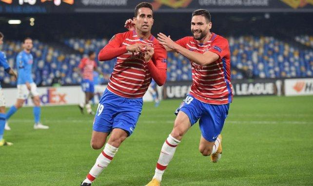Ángel Montoro celebra su gol ante el Nápoles