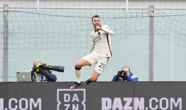 Borja Mayoral celebra un gol con la AS Roma