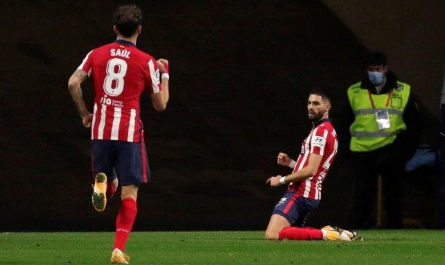 Yannick Carrasco celebra el tanto en el Wanda Metropolitano