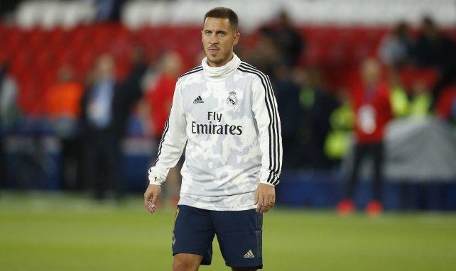 Eden Hazard en un entrenamiento con el Real Madrid