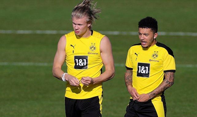 Erling Haaland  y Jadon Sancho, durante un entrenamiento