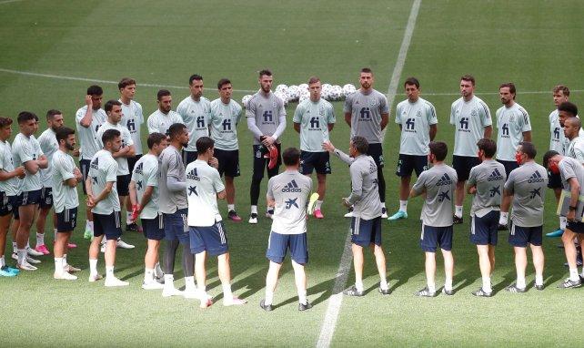 Los jugadores de España en un entrenamiento