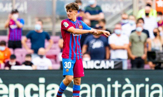 Gavi con la elástica del FC Barcelona