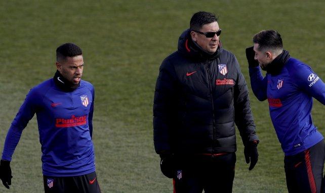 Germán Burgos, en un entrenamiento con el Atlético de Madrid