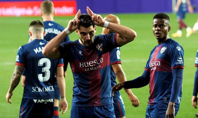 El Huesca celebra un gol de Rafa Mir