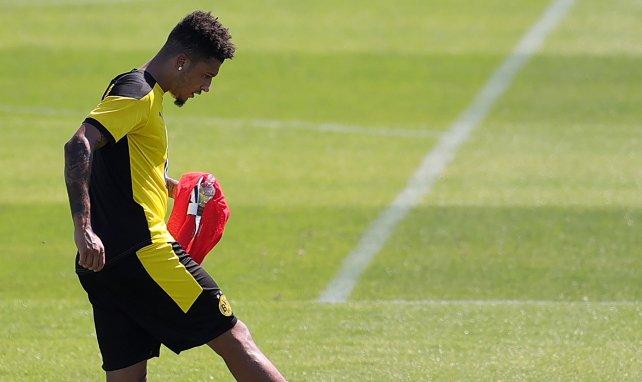 Jadon Sancho en un entrenamiento con el Borussia Dortmund