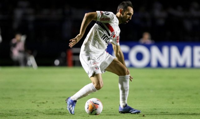 Juanfran, durante un partido con el Sao Paulo
