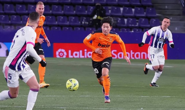 Kang-in Lee en un partido ante el Real Valladolid