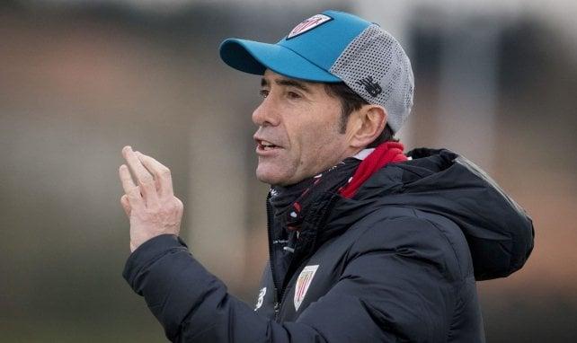 Marcelino, en un entrenamiento con el Athletic de Bilbao
