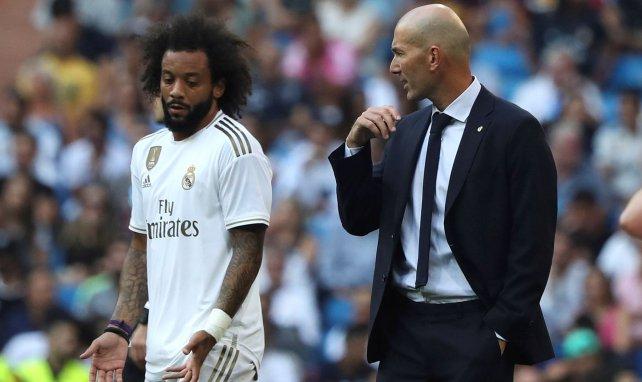 Marcelo y Zinedine Zidane en un partido del Real Madrid