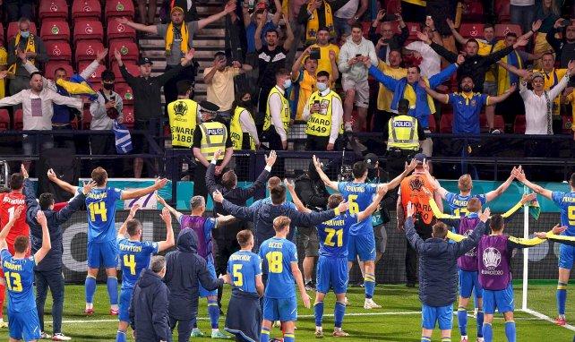 Ucrania celebrando la clasifiación a cuartos de final de la Euro 2020