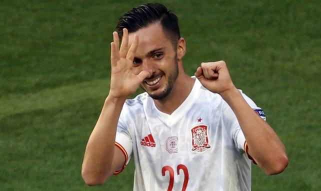 Pablo Sarabia celebra un gol con España