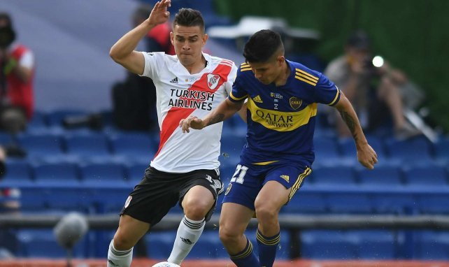 Rafael Santos Borré, en acción con River Plate
