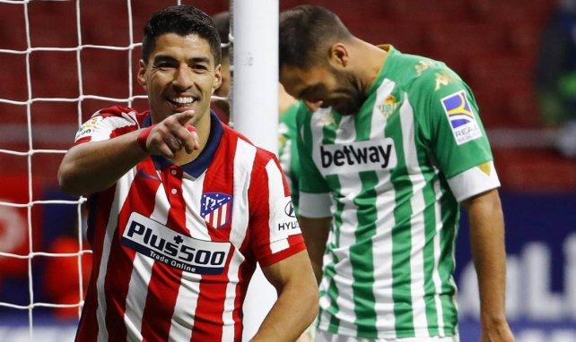 Luis Suárez festeja un gol con el Atlético de Madrid